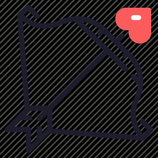 arrow, bow, cupid, love, marriage, valentine, wedding icon