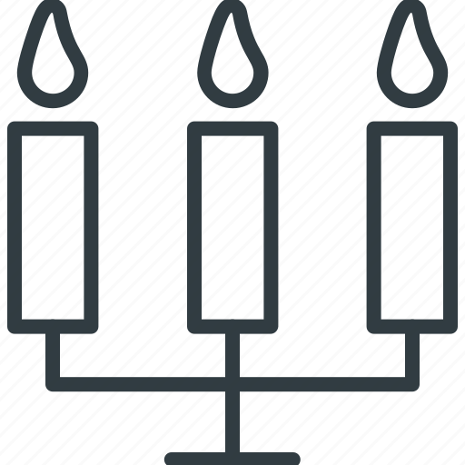 burning candle, candelabra, candles, retro candlestick, three candles icon