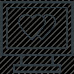 hearts sign, love, love message, love via internet, media, monitor, valentines day icon