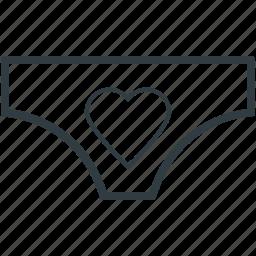 heart sign, pantie, underclothes, undergarment, underthing, underwear icon