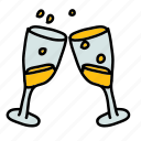 celebration, champagne, glasses, wedding icon