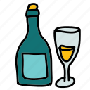bottle, celebration, champagne, glass, wedding, wine icon
