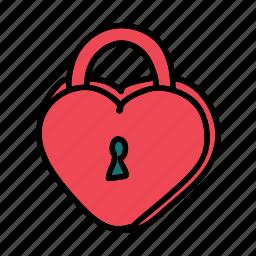 celebration, heart, lock, love, wedding icon