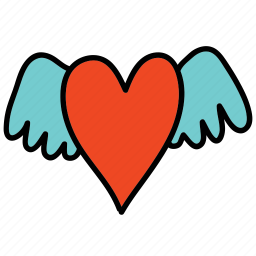 celebration, heart, love, wedding, wings icon