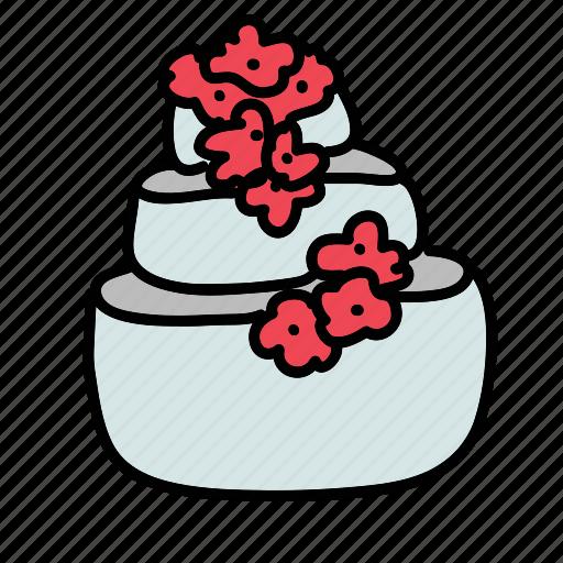 cake, celebration, decoration, flowers, wedding icon