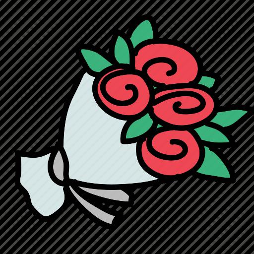 bouquet, celebration, flowers, roses, wedding icon