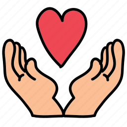 celebration, hands, heart, protect, wedding icon