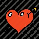arrow, heart, pierce, wedding icon