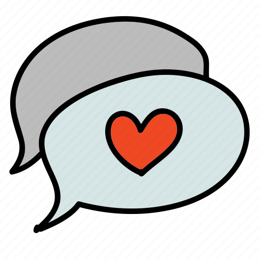 bubbel, chat, heart, love, message, text, wedding icon
