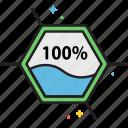 100%, bioavailability, liquid, liquidity, solution, water icon