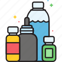 bottles, juice, packaging, products, solution icon