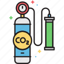 carbon dioxide, co2, extraction, tank icon