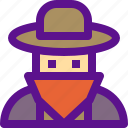 cowboy, desert, india, villain icon
