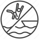 disturb, do not, jump, ocean, prohibited, sea, traveler icon