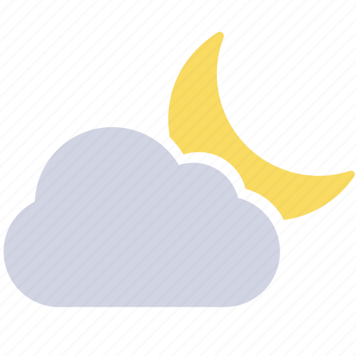 crescent moon, half moon, partly cloudy, weather forecast, wheater icon