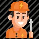 avatar, electrician, job, man, profession, user, work