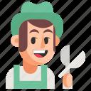 avatar, gardener, job, man, profession, user, work
