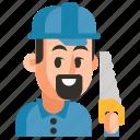 avatar, carpenter, job, man, profession, user, work icon