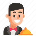 avatar, job, man, profession, user, waiter, work icon