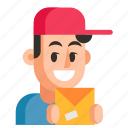 avatar, courier, job, man, profession, user, work