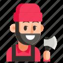 avatar, job, lumberjack, man, profession, user, work