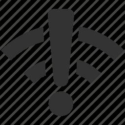 attention, connection error, network, signal, warning, wifi error, wireless icon