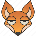 animal, canine, cunning, fox, red icon