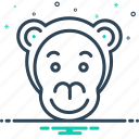 animal, face, monkey, zoo icon