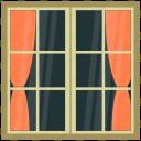 glass window, home interior, room window, window case, window frame icon