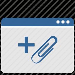 add, attachment, clip, mailbox, message, window icon