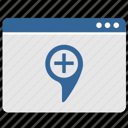 add, geo, point, ui, window icon