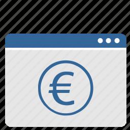 banking, euro, money, window icon