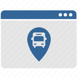 bus, geo, location, tag, window icon