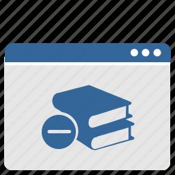book, cart, cut, erase, minus, ui, window icon