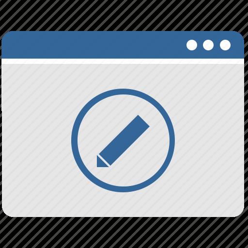 edit, pencil, round, window, write icon