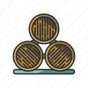 barrels, drinking, glasses, vineyard, wine, wine cellar, winery icon
