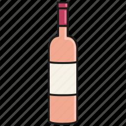 bottle, celebration, drink, france, pink, rose, wine icon