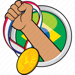 brazil, compeition, medal, sport, sport event icon