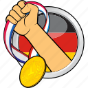 competition, flag, germany, hand, race, sport, sport event icon