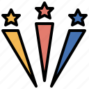 celebration, fireworks, fun, party, prize, stars, winner icon
