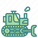 bulldozer, construction, excavator, transportation icon