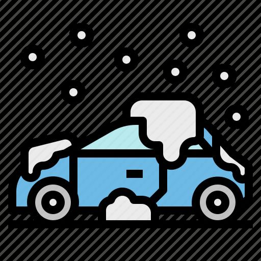 car, snow, snowflake, snowing, transportation icon