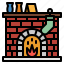 chimney, fire, fireplace, warm, winter icon