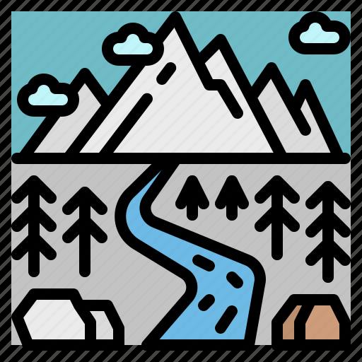 landscape, mountain, river, snow, winter icon