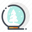 ball, christmas, glass, snow, tree, winter, xmas icon