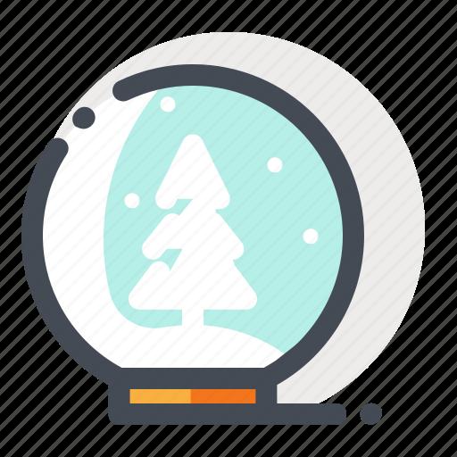 ball, christmas, glass, snow, tree, winter, xmas icon