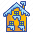 building, house, property, snow, winter icon