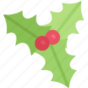 christmas, december, holidays, holly, winter icon