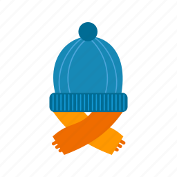 cap, hat, scarf, warm, winter, wool, woolen icon