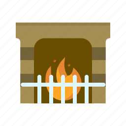 fire, fireplace, flame, hot, light, winter, wood icon